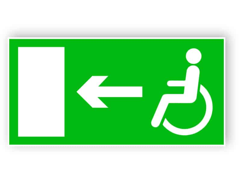 Rettungsweg für Behinderte (links)